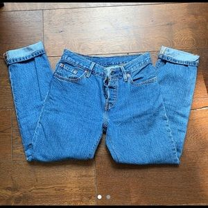 """Levi 501 straight leg blue jeans w/ Button Fly 25"""""""